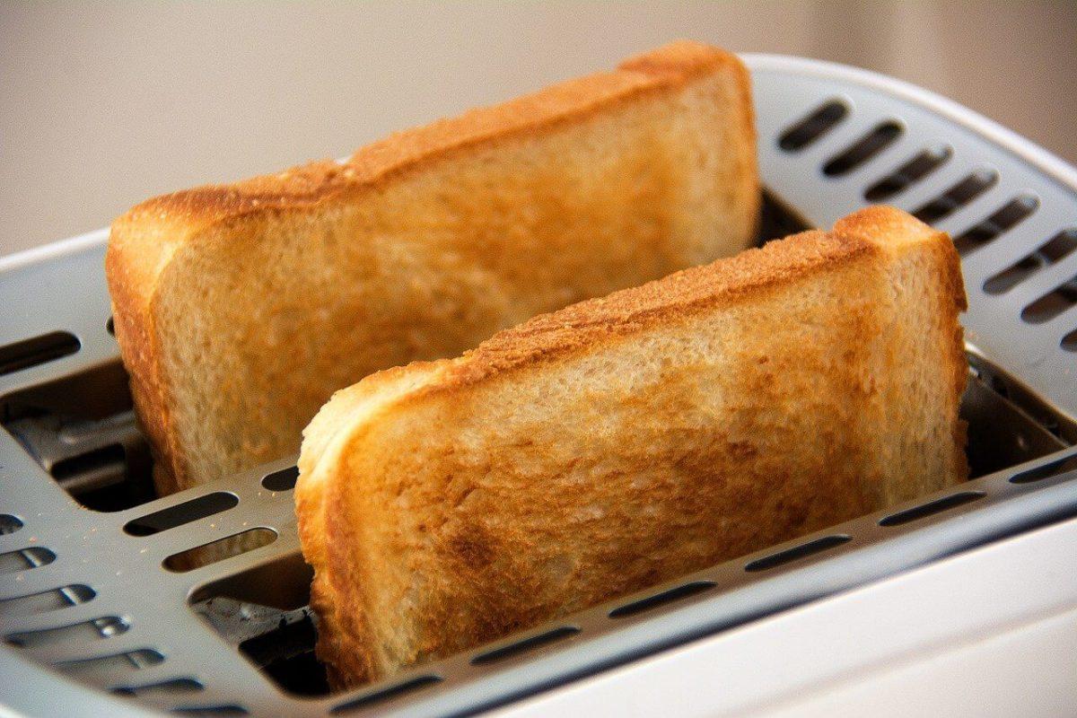 Toaster mit Quarglasheizung braeunt Broetchen